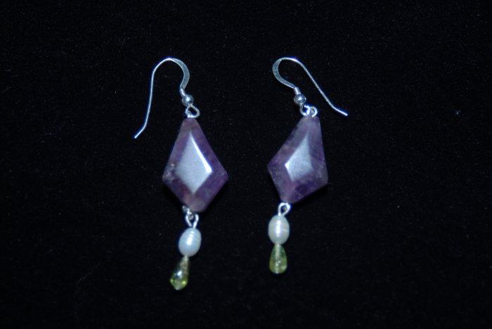 Sterling Silver Amethyst, Peridot & Pearl Earring