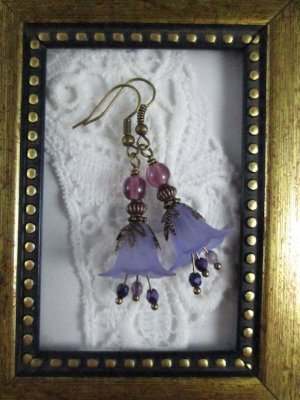 Handmade Vintage Style Purple Flower Bronze Tone Earrings