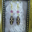 Handmade Czech Golden Etched Oblong Purple Glass Earrings