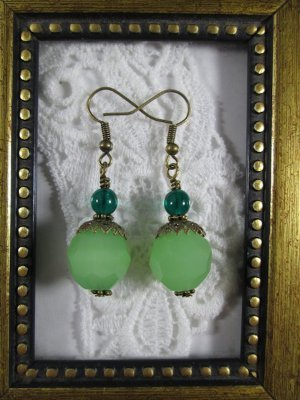 Milky Green Faceted Glass Antique Bronze Tone Earrings