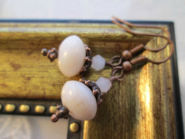 Off White Czech Glass Earrings, Free Shipping!