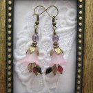 Handmade Plum Pink/Purple Flower Earrings, Free U.S. Shipping!