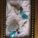 Handmade Light Blue Drop & Crystal Earrings, Free Shipping!