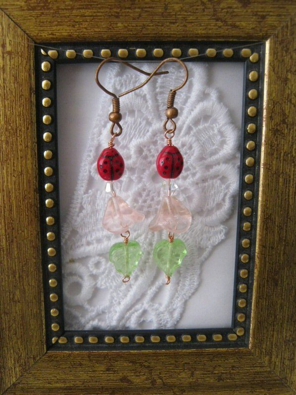 Light Pink Flower & Lady Bug Earrings, Free Shipping!