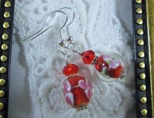 Handmade Red & Pink Flower Lamp Work Glass Bead Silver Tone Earrings