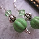 Handmade Matte Green Melon Bead Earrings, Free U.S. Shipping!