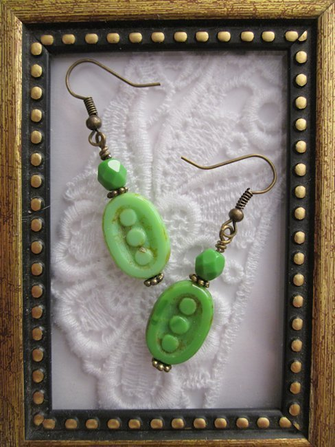 Handmade Green Czech Dotted Oval Earrings, Free U.S. Shipping!