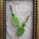 Handmade Green Czech Dotted Oval Earrings, Free U.S. Shipping!