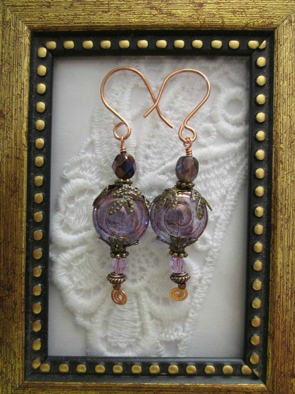 Light Amethyst Swirl Glass Earrings, Free Shipping!