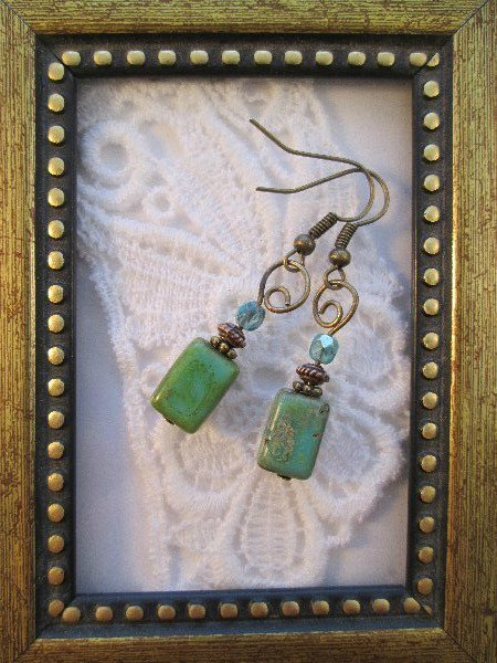 Rectangle Rustic Turquoise Glass Earrings, Free Ship!