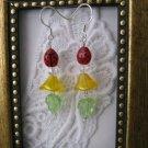 Yellow Czech Flower & Lady Bug Earrings, Free Shipping!