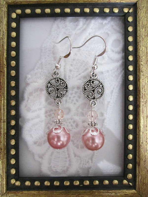 Champagne Pink Pearl Silver Tone Earrings, Free Shipping!