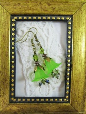 Handmade Green Lily Flower & Czech Glass Antique Bronze Tone Earrings