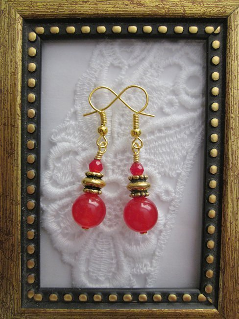 Handmade Round Ruby Drop Earrings, Free U.S. Shipping!