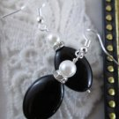 Handmade Pearl & Oval Black Bead Earrings, Free U.S. Ship!