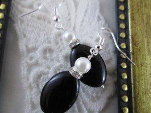 Handmade Pearl & Oval Black Bead Earrings, Free U.S. Ship!