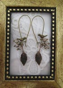 Handmade Bird and Grey Berry Rustic Bronze Tone Hoop Earrings, Free Ship!
