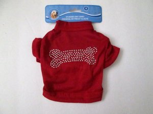 NWT Small Dog/Pet Shirt, Red with Bling Studded Bone Design, Free Shipping!