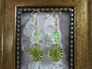 Handmade Oval Light Green Czech Glass Gold Tone Earrings