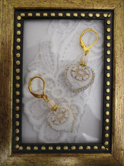 Flower Etched White Victorian Heart Earrings, Free Shipping!