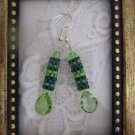 "Handmade ""Forest Dew"" Green Tone Peyote Stitch Earrings"