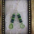 "Handmade ""Forest Dew"" Green Tone Peyote Stitch Earrings"