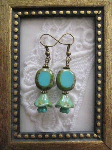 Turquoise Blue Czech Oval & Flower Earrings, Free Ship!
