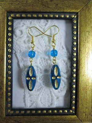 Handmade Czech Golden Etched Oblong Blue Glass Earrings