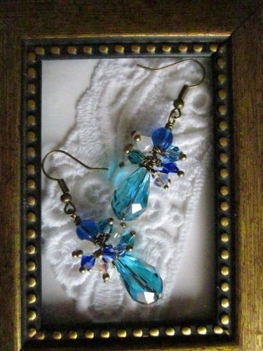 Handmade Blue Drop Bronze Tone Earrings, Free Ship!