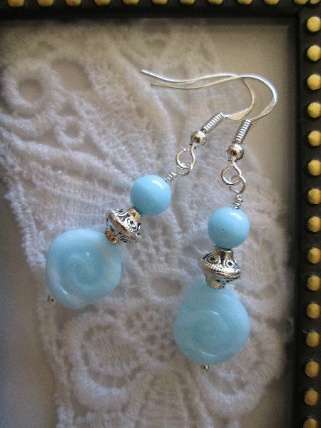 Handmade Icy Blue Glass Sterling Silver Earrings, FREE SHIP!