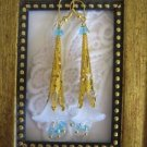 Gold Stemmed Blue Lily Earrings, Free Ship!