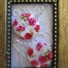 Handmade Bush Rose Print Round Shell Earrings, FREE SHIP!