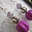 Handmade Matte Purple Melon Bead Earrings, Free U.S. Shipping!