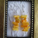 Handmade Yellow Coral Chip Stack Silver Tone Earrings, Free Shipping!