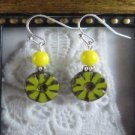 Handmade Czech Carved Round Yellow Daisy Earrings