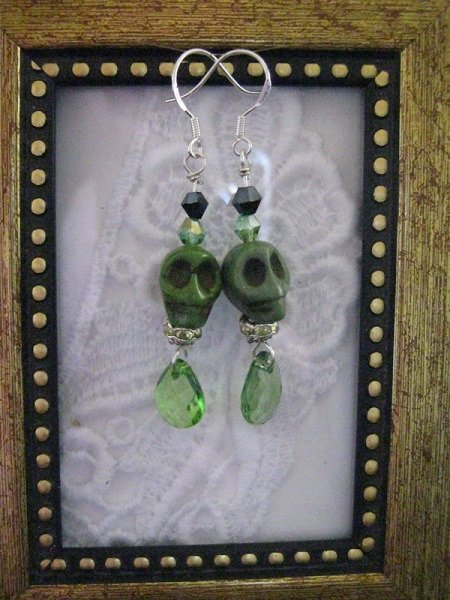 Halloween / Day of the DeadGreen Carved Skull Earrings, Free Shipping!