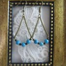 Handmade Blue Turquoise Antique Bronze Tone Earrings