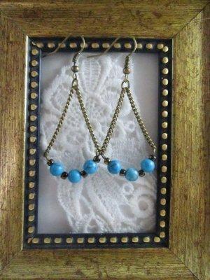 Handmade Blue Turquoise Antique Bronze Tone Earrings
