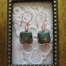 Copper Wire Wrapped Blue Square Agate Earrings