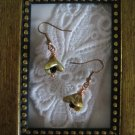 Light Brown Czech Flower Earrings, Free Ship!