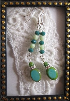 Handmade Oval Turquoise Blue Czech Glass Bead Earrings, Free U.S. Ship!