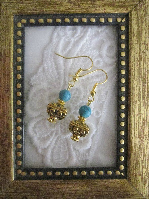 Handmade Tibetan Treasure Box & Turquoise Bead Earrings Free U.S. Shipping!
