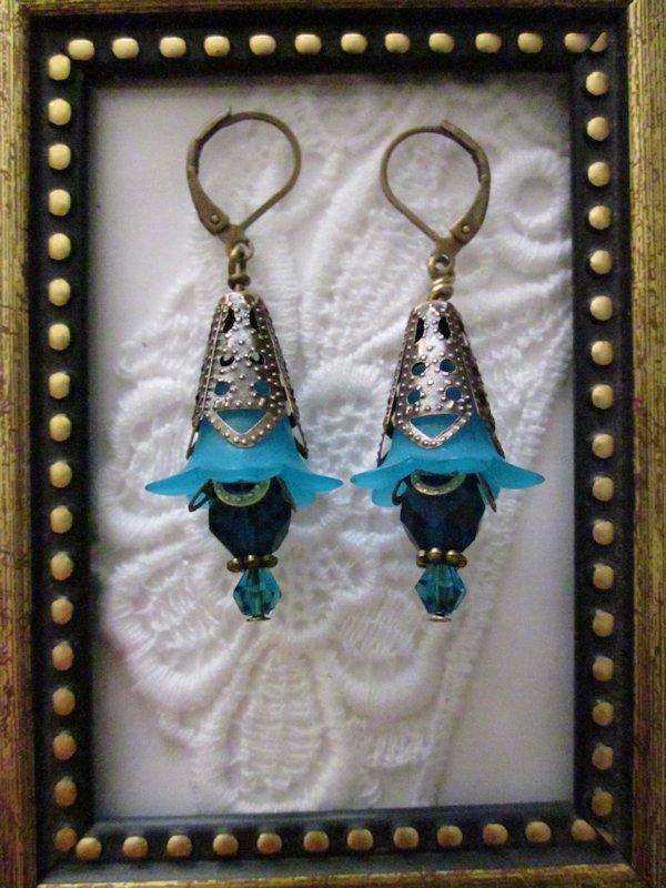 Handmade Antique Style Sky Blue Flower & Crystal Earrings, Free Shipping!
