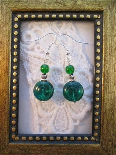 Green/Silver Swirl Glass Silver Tone Earrings, Free Ship!