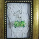 Handmade Green Lampwork Glass & Crystal Silver Tone Earrings