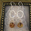 Brown Picasso Glass on Silver Ring Earrings, Free Shipping!