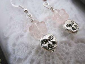 Handmade Light Pink Flower Moon Face Earrings, Free Shipping!