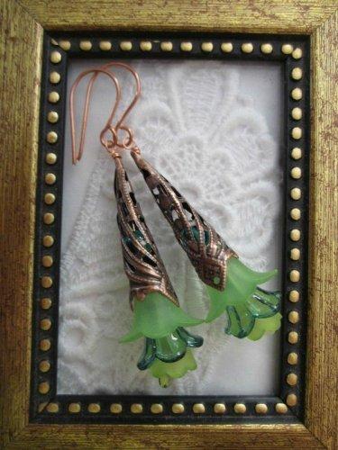 Long Stemmed Green Flower Earrings, Free Shipping!