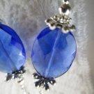 Handmade Jewel Facet Blue Oval Glass Earrings, Free U.S. Ship!