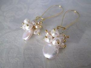 Handmade White Coin Pearl & Freshwater Pearl Bubble Chandelier Hoop Earrings